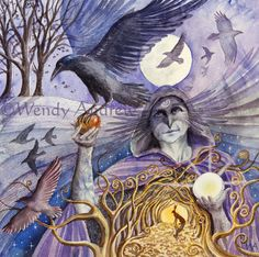 samhain crow woman card by wendy andrew