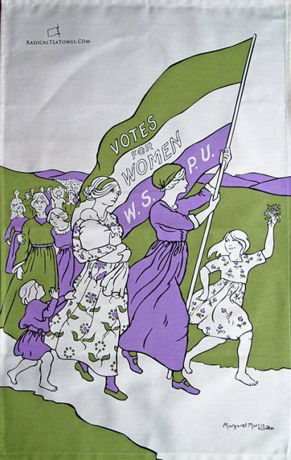 "is based on a 1911 design by Margaret Morris in the Suffragette colours of purple, green and white. The design was intended to illustrate the song sheet of ""The March of the Women"","
