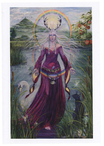 Lady of Avalon A3 Print by Caroline Lir